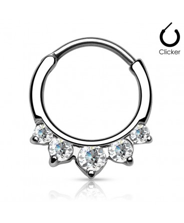 Surgical Steel Five Gem Septum Clicker