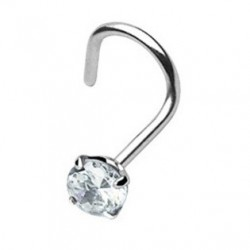 Surgical Steel Nose Stud / Hook / Screw With Clear CZ Gem