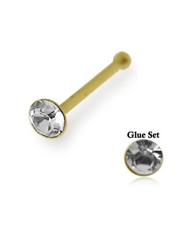 9ct Gold Nose Stud / Pin With Glue Set CZ Gem