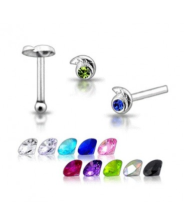 925 Sterling Silver Shell Design With Coloured Gem Nose Stud / Pin