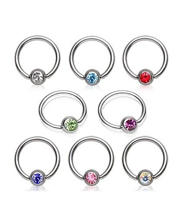 Surgical Steel Gem Ball Captive Bead Ring BCR