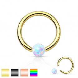 Gold / Black / Rainbow IP over Surgical Steel Captive Bead Ring With Opal Ball