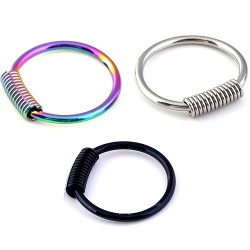 Anodised Titanium Over Surgical Steel Spring / Coil Captive Ring Ring BCR