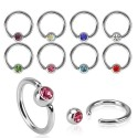 Surgical Steel Coloured Gem Captive Bead Ring BCR