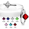 Surgical Steel Diamond Square Gem BCR Captive Bead Ring / Navel Belly Bar