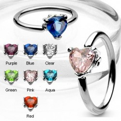 Surgical Steel Heart Gem BCR Captive Bead Ring / Navel Belly Bar