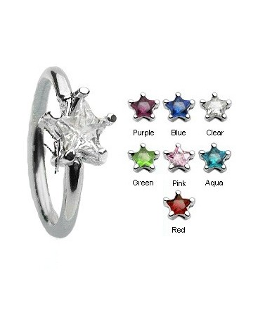 Surgical Steel Star Gem BCR Captive Bead Ring / Navel Belly Bar