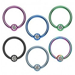 Anodised Titanium Captive Bead Ring Hoop with Clear Gem Set Ball