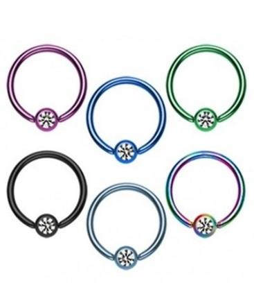Anodised Titanium Captive Bead Ring Hoop with Clear Gem Set Ball