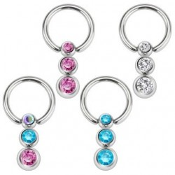 Surgical Steel Triple Gem Ball Captive Bead Ring BCR