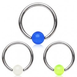 Surgical Steel UV Glow Ball Captive Bead Ring BCR