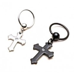 Surgical Steel BCR Captive Bead Ring with Dangling Cross / Crucifix
