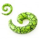 Acrylic Green Cracked Marble Spiral Ear Taper / Stretcher