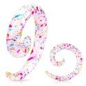 Acrylic Multi Colour Paint Splatter Spiral Ear Taper / Stretcher