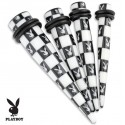Acrylic Playboy Bunny Chessboard Black & White Ear Taper / Stretcher
