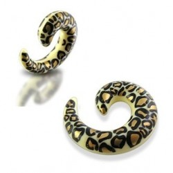 Acrylic Leopard / Cheetah Print Spiral Ear Taper / Stretcher