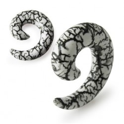 Acrylic Black & White Cracked Marble Design Spiral Ear Taper / Stretcher
