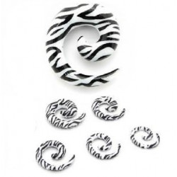 Acrylic Black & White Zebra Print Spiral Ear Taper / Stretcher