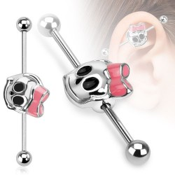 Surgical Steel Skull Bow Industrial / Scaffold Barbell