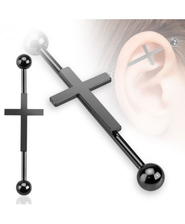 Surgical Steel Black Cross / Crucifix Scaffold / Industrial Barbell