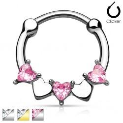 Surgical Steel Heart CZ Gem Septum Clicker
