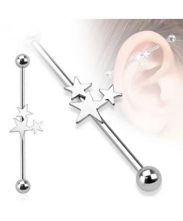 Surgical Steel Triple Star Industrial / Scaffold Barbell