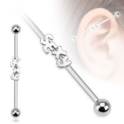 Surgical Steel Sexy Logo Industrial / Scaffold Barbell
