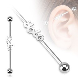 Surgical Steel Yolo Logo Industrial / Scaffold Barbell
