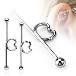Surgical Steel Love Heart Scaffold / Industrial Barbell