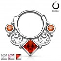 Surgical Steel Square CZ Gem Lace Swirl Septum Clicker