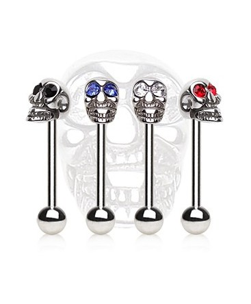 Surgical Steel Gem Skull Head Tongue Bar