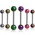 Surgical Steel Tiger Zebra Stripe Ball Tongue Bar