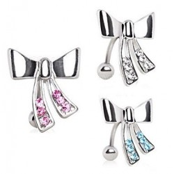 Surgical Steel Reverse Bow / Knot Belly / Navel Bar Stud with Coloured Gems