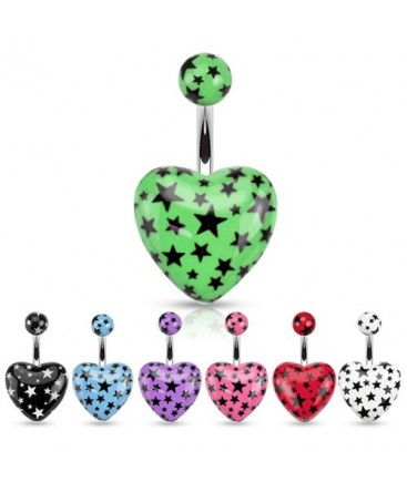 Surgical Steel Belly / Navel Bar with Acrylic Love Heart Star Print
