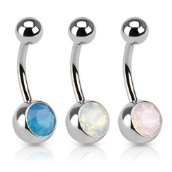 Surgical Steel Semi Precious Opal Stone Belly / Navel Bar
