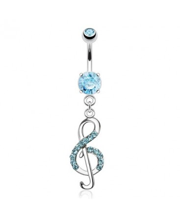 Surgical Steel Treble Clef / Music Note Dangle / Drop Gem Belly / Navel Bar