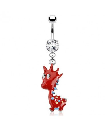 Surgical Steel Cute Dinosaur Dangle / Drop Belly / Navel Bar