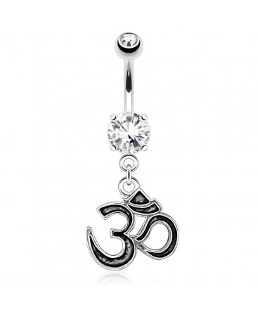 Surgical Steel Religious Indian Hindu Ohm Dangle / Drop Belly / Navel Bar