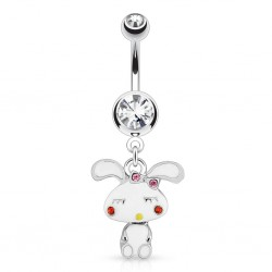 Surgical Steel Bunny Rabbit Drop / Dangle Belly / Navel Bar with Clear Gem