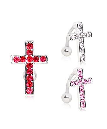 Surgical Steel Reverse Gem Cross / Crucifix Belly / Navel Bar