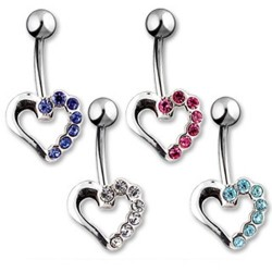 Surgical Steel Hollow Gem Heart Belly / Navel Bar