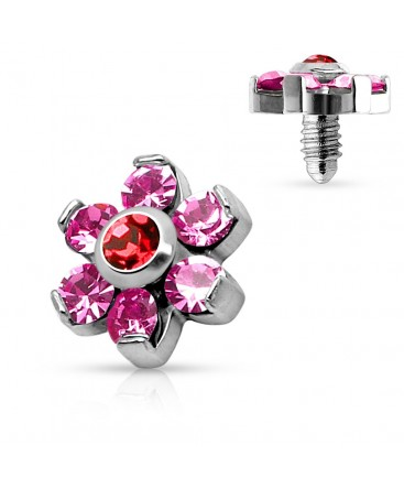 Surgical Steel CZ Gem Flower Dermal Anchor Top