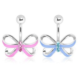 Surgical Steel Gem Knot / Ribbon / Bow Belly / Navel Bar