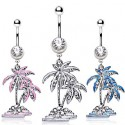 Surgical Steel CZ Gem Tropical Palm Coconut Tree / Dangle Belly / Navel Bar