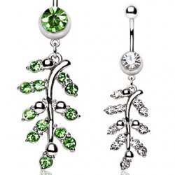 Surgical Steel CZ Gem Leaf Dangle Belly / Navel Bar