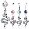 Surgical Steel CZ Gem Snake Dangle / Drop Belly / Navel Bar