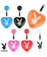 Surgical Steel Acrylic Heart Belly / Navel Bar with Playboy Logo