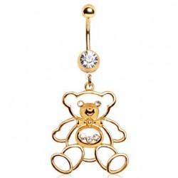 Gold Plated Over Surgical Steel CZ Gem Dangle Teddy Bear Belly / Navel Bar