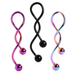 PVD Plated over Surgical Steel Spiral Twist Belly / Navel Bar