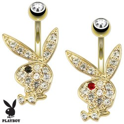 Gold Plated Genuine Playboy Bunny Rabbit Gem Belly / Navel Bar